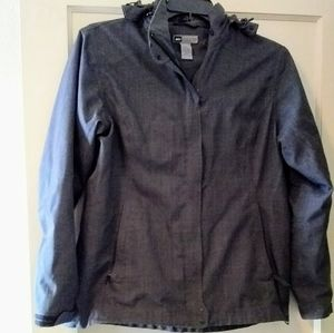 REI Sz L gray lined hoodie jacket w many features